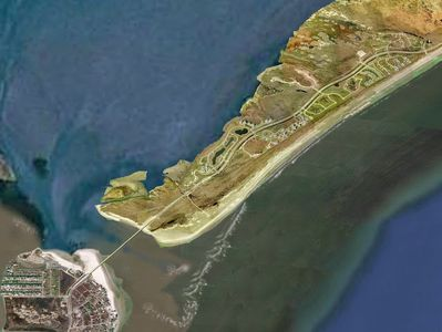 Areal shot of San Luis Pass, beautiful beach at far west end of Galveston Island