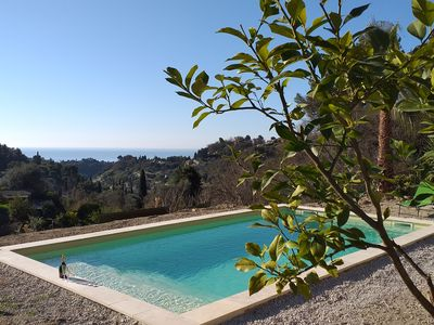 Photo for BEAUTIFUL VILLA WITH SWIMMING POOL SEA VIEW & MOUNTAINS, HEIGHTS OF MENTON, FRENCH RIVIERA
