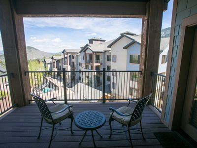 Photo for Stunning views off shared balcony & steps from slopes