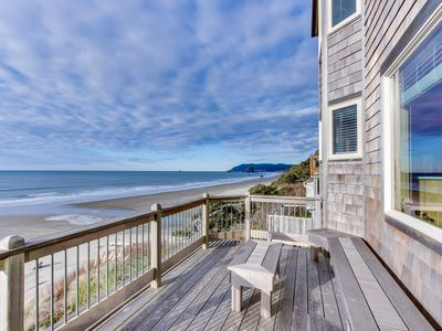 Photo for Beautiful beachfront home with stunning ocean views & outdoor firepit