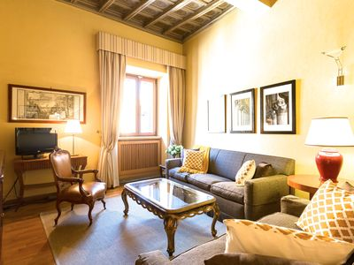 Tastefully, comfortably furnished living room of the Pasquino apartment.