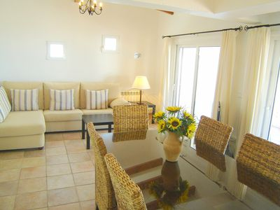 Beautifully furnished lounge area with wonderful sea views
