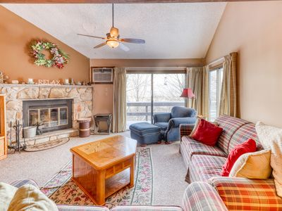 Photo for Dog-friendly townhouse w/shared pool & hot tub - Skiing right at the door!