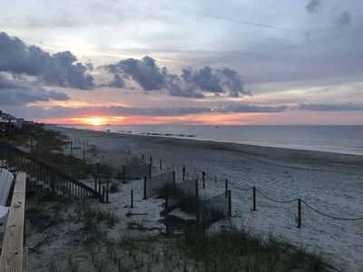 You can experience sunrises and sunsets at Oak Island from the deck.