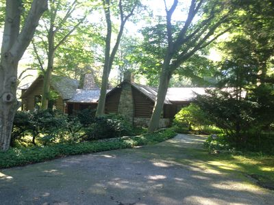 Photo for Real log house on Directly on the River with heated pool one hour from NYC.