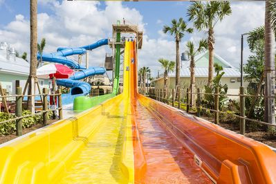 WATER SLIDES AT ENCORE CLUB WATER PARK INCLUDING DROP TOWER. VERY VERY FUN