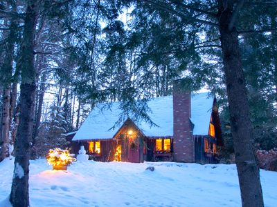 Photo for Romantic Log Cabin Minutes From Stowe Village And Mount Mansfield's Ski Slopes