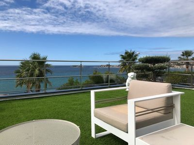 Photo for BEAUTIFUL APARTMENT WITH MAGNIFICENT SEA VIEW, TERRACE, GARDEN, BEACH ON FOOT / 8 PEOPLE
