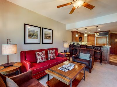 Photo for First floor getaway w/ mountain view, shared pool, wood-burning fireplace!