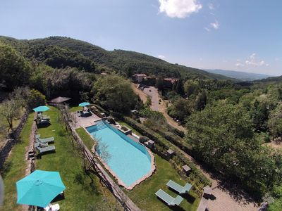 Photo for Tuscany: Apartment with swimming-pool and restaurant in medieval village of Gello Biscardo, between Arezzo and Florence.