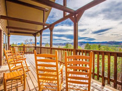 Photo for Easy Access Smoky Mountain views, fire pit, hottub, arcade,& pool table.