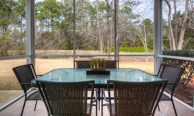 Screened in patio overlooking the golf course, not 1 building in sight -private!