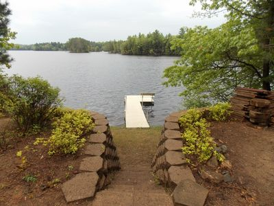 Aluminum dock and bench to relax by the lake