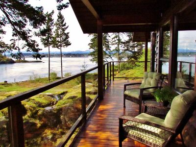 Very private Living Room Deck w/ direct access down to the waterfront