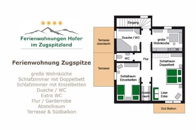 Floor plan of the apartment Zugspitze with two bedrooms