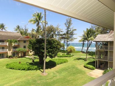 View from lanai looking right.  Waves crashing and easily heard from inside!