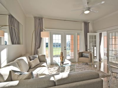 The large French doors afford stunning views and bring in natural light