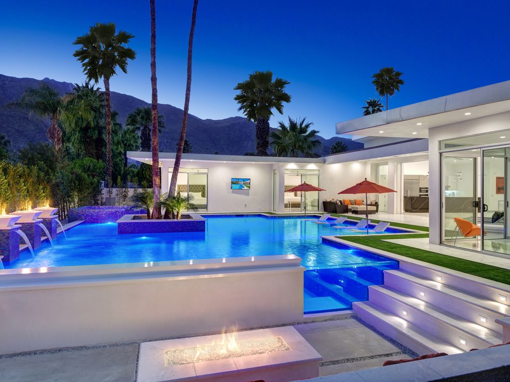 Brand new palm springs luxury dream resort pool 5be 5 5 - Palm springs swimming pool contractors ...