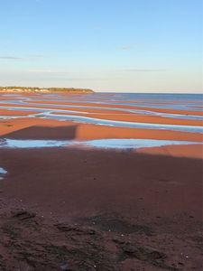 The beach changes with the tides. At low tide you can walk for miles.
