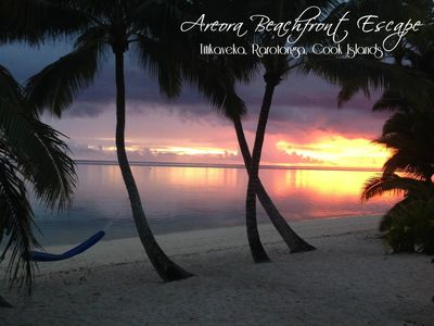 Photo for Nestled on the white sandy beach and crystal blue lagoon of Rarotonga