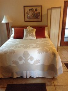 Enjoy sleeping in a queen size pillow top bed, large enough for a couple.