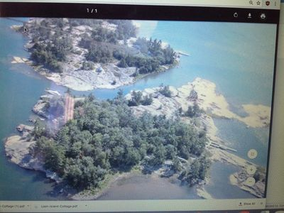 Parry Sound cottage rental - Aerial View of Killarney Island. The cottage is on the