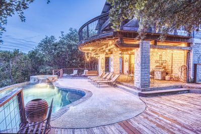 Outstanding views at night by the pool. .