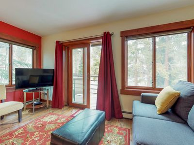 Photo for Dog-friendly, ski-in/ski-out condo with shared hot tub & sauna, great location