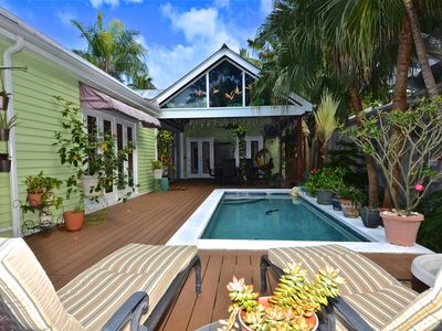 Photo for Vibrant home w/hot tub & private pool blocks from the beach - dog-friendly!