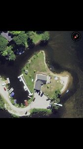 Overhead view of our peninsula property. Long dock in back is where boats docked