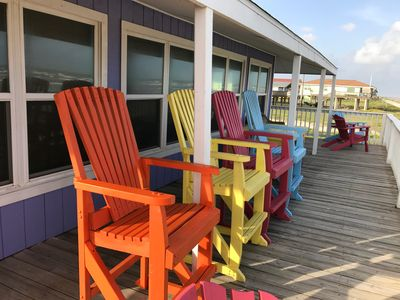 Lots of brightly colored deck chairs to choose from!