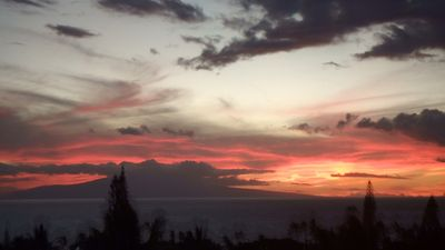 Sunset looking due West from our lanai; July 2017
