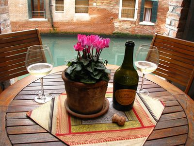 private canalside courtyard
