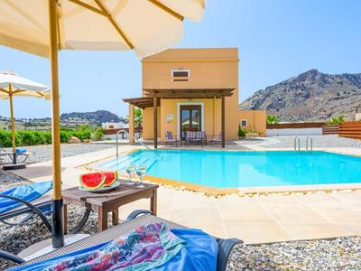 Photo for 4 bedroom Villa, sleeps 8 in Lindos with Pool, Air Con and WiFi