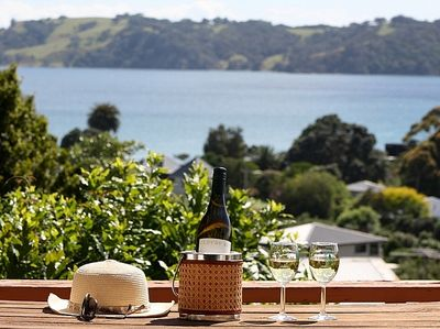 Tin Boat Bach - Onetangi Beach Holiday Home - Outdoor Living with Views