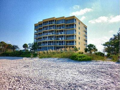 View of condo from the beach! Condo is on the top floor!