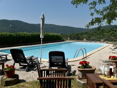 Photo for Stone house between Umbria and Tuscany, on the Trasimeno hills, with swimming pool