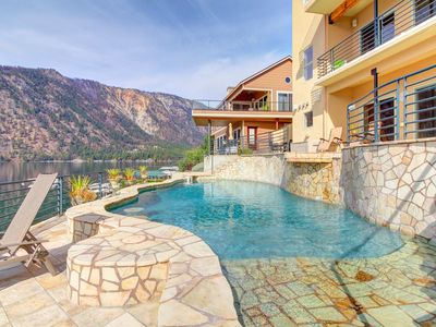 Photo for Spectacular lakeside home with private pool and hot tub - dogs welcome!
