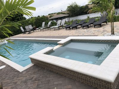 Photo for Waterfront Palm Beach - Private Boat Dock, Pool, Hot Tub, Home Theater, max 10