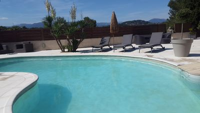 Photo for modern house with magnificent view, heated swimming pool, 5 min from the sea,