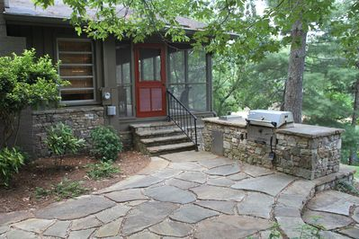 Outdoor kitchen and stone patio