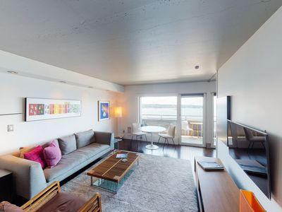 Photo for NEW LISTING! Modern condo w/ water view & walk to Pike Place & downtown!