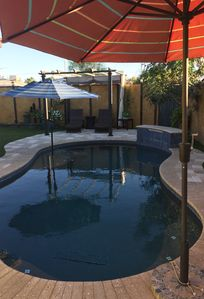 Photo for CENTRAL! Entire property. Private Salt Water pool, spa, dogs welcome