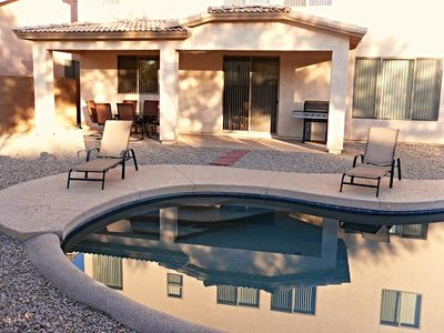 Heated Pool-Propane BBQ-Lounge Chairs- Patio Table 6 Chairs-Ice Chest-Toys (extra chairs available)