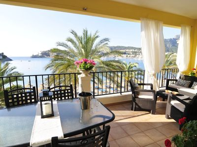 Photo for Beautiful and romantic apartment in Port de Sóller with terrace, 10m from beach