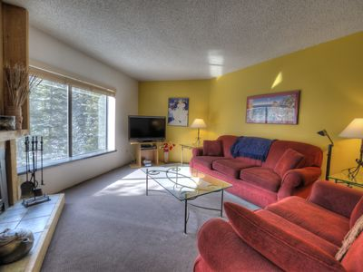 Living Room Overlooking Blue River.  Queen Sofa/Sleeper