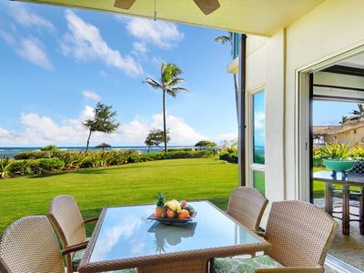Photo for Waipouli Beach Resort Exquisite Oceanfront! Ground Level AC POOL