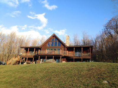 Photo for Gorgeous Log Home With Mountain Views with Hot Tub