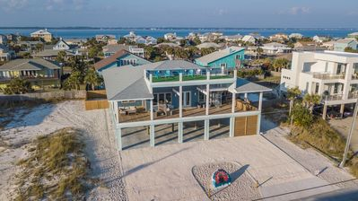 Pensacola Beach House Rental   Aerial View With Graffiti Rock