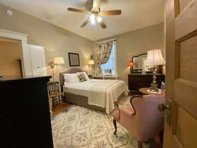 The large bedroom in Anna's Retreat features a Queen-sized bed.
